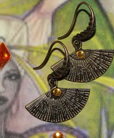 Ochun Oshun inspired modern earring by ModernOrisha on Etsy