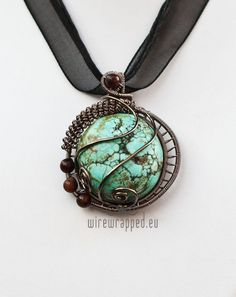 Round TurquoiseWire-wrapped Pendant