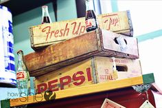 These vintage pepsi boxes brings back memories of my Uncle's store where we would go get a Pepsi with my Pappaw.