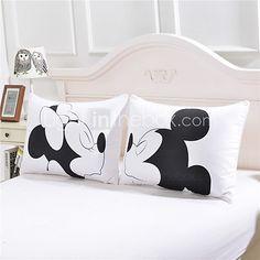 mickey mouse Love Decorative Pillow Case Cute Design Cotton Standard Pillowcase Home Gift 50cmx75cm One Pair 2017 - $17.5