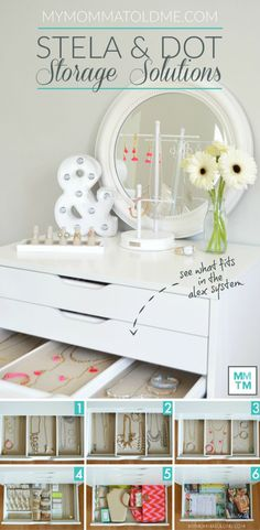 Ikea's ALEX drawers are perfect for Stella & Dot Jewelry Storage!  Take a peek in my 6 drawers!  Check out the review and 2 other jewelry storage solutions!