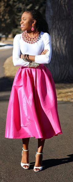 Pretty pink and white full skirt outfit. Wearing multi-row necklace, bangles, and open toe sandals. Fashion blogger | Style blogger | Summer style | Summer fashion | African | Black girl