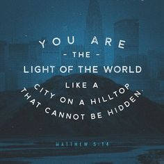 """""""""""You are the light of the world. A city set on a hill cannot be hidden."""" Matthew 5:14 ESV"""