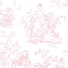 "Ophelia & Co. Hot Springs 32.7' x 20.5"" Toile De Jouy Wallpaper Color: Pink"