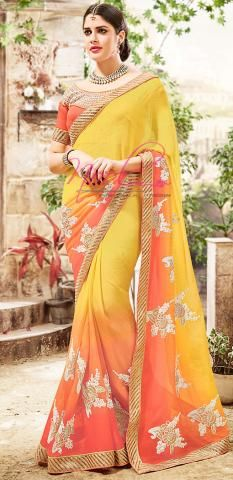 Plain Chiffon Sari Yellow 2 Dyed Machine Embroidery BZ5000D76494
