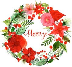 Margaret Berg Art: Christmas Wreath Merry