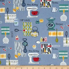 Retro Bake Spaced Blue from @fabricdotcom  Designed by The Henley Studio for Andover/Makower UK Fabrics, this cotton print fabric is perfect for quilting, apparel and home decor accents. Colors include orange, teal, white and blue.