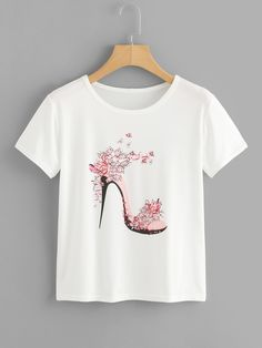 SheIn offers High Heels Print Tee & more to fit your fashionable needs. Girls Fashion Clothes, Fashion Outfits, Clothes For Women, Womens Fashion, Floral High Heels, Hand Painted Dress, Paint Shirts, T Shirt Painting, T Shirt World