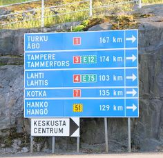 Finland is a bilingual country. Finland Culture, Finland Trip, Finland Country, Finnish Language, Sign Fonts, Birches, Direction, Ways To Travel, My Heritage