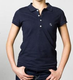 GIRLS - EQIP logo polo - navy. For girls who also want to demonstrate their love of hockey off the field.