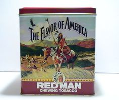 Redman Flavor of America Chewing Tobacco Tin Canister 1991  Collectible Tin from Redman Tobacco featuring images of The American West. Limited Edition, Dimensions: 6.75H x 6.25L x 6.25W. Pinkerton Tobacco Company