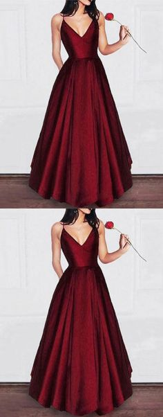 Simple v neck burgundy long prom dress, burgundy evening dress