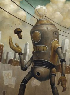 Serenading Robot by Matt Dixon 3d Character, Character Concept, Concept Art, Character Design, Character Reference, Robot Illustration, Illustrations, Steampunk, Matt Dixon