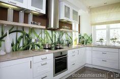 biały, jadalnie, otwarte, wystrój wnętrz, aranżacje kuchni, motywy roślinne,