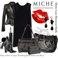 Miche Luxe Montreal Shells --  the Montreal for Demi Miche bags is breathtakingly elegant and the styling is reminiscent of French haute couture. Feather-white faux leather is overlaid with an exquisite laser-cut perforated pattern in deepest black. Illusion belt detail and silver hardware complete the look. #miche #handbags #luxury