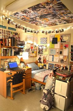 You can decorate every possible surface in your college dorm room  I just like the lights with the pictures hanging from them on this one