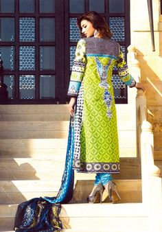 Blue Cotton Suit With White Neck Embroidery  #pakistani #suits #collection #maria   Buy at : http://www.alicolors.com