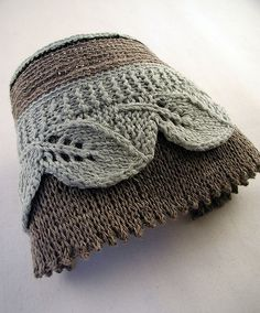 Leaf Lace Fringe- Linen Cuff by moonroverspins, via Flickr (on Ravelry)