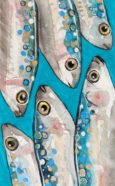Petra Lizde personal art gallery and portfolio website. Fish Drawings, Art Drawings, Tableau Pop Art, Animal Paintings, Paintings Of Fish, Acrylic Canvas, Fish Art, Painting Inspiration, Painted Rocks