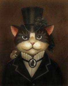 Portrait de chat - chat Steampunk - Art de chat - chat de Dame victorienne d'impression