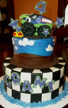 Monster Truck 2-tier Cake - by WinchesterDeb @ CakesDecor.com - cake decorating website