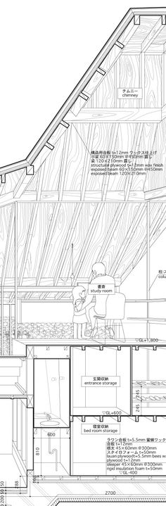 Japanese super-duo Atelier Bow-Wow drawings in their latest book, Graphic Anatomy. Combination of working drawing, perspective drawing, and entourage. Coupes Architecture, Architecture Graphics, Architecture Drawings, Amazing Architecture, Architecture Design, Bow Wow, Section Drawing, Architect Drawing, Architectural Section