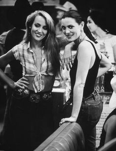 Style Icon: Jerry Hall with her sister on the set of Urban Cowboy.