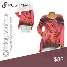 Asymmetrical Long Sleeve Tunic Floral tie dye print. 63% Polyester 33% Rayon 4% Spandex.  Made in USA Tops Tunics