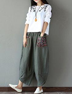 Wide Leg Linen Pants, Wide Leg Trousers, Trousers Women, Pants For Women, Clothes For Women, Linen Pants Women, Harem Trousers, Vintage Cotton, Fashion Pants