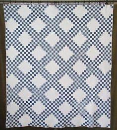 Densely Quilted Antique Indigo Blue White Irish Chain Quilt c1880 w Wear | eBay Vintageblessings