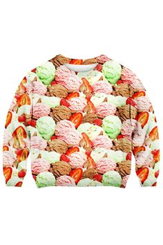 Shop Romwe Women's Colorful Ice-cream Balls Allover Pattern Polyester Sweatshirt-Colorful-M. Colorful Ice Cream, Cream Sweater, Latest Street Fashion, Printed Sweatshirts, I Love Fashion, Fashion Prints, Romwe, Cute Outfits, Street Style
