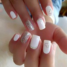 White Acrylic Nails, White Nails, Short Nails, Long Nails, Diamond Nails, Manicure E Pedicure, Short Nail Designs, Rainbow Nails, Luxury Nails