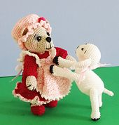 """Little Bear Peep is a 3.75"""" crocheted bear, dressed in an adorable little old-fashioned ensemble including tiny red shoes (not removable), white ruffled bloomers, long-sleeved dress that button in back with tiny pearl buttons, a sweet ruffled pink apron, and a cute little mob cap. Her cohort Lambie Pie is 2.5"""" tall, and about the same in length. Of course, you may vary the size of these cuties by using your choice of thread or yarn with the appropriate size hook, eyes, and joints."""