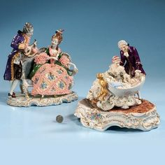 675: Porcelain group with man standing and lady seated : Lot 675