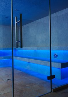 Our expert team at Mayflower can even automate your swimming pool and sauna lighting system by installing and designing waterproof lighting which is perfect for setting a relaxing mood for you and you Steam Bath, Steam Room, Spa Rooms, House Rooms, Light Architecture, Architecture Design, Dream Home Design, House Design, Turkish Bath House