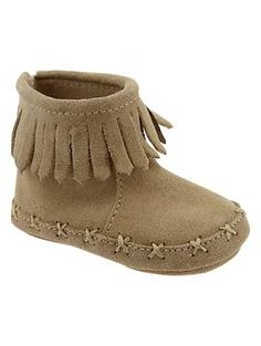 Fringe suede moccasin booties | Gap  - if baby Violet is anything like her mom she'll wear fringe moccasin boots