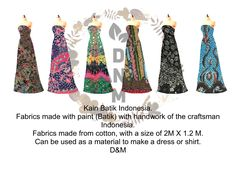 Kain Batik Indonesia. Fabrics made with paint (Batik) with handwork of the craftsman Indonesia. Fabrics made from cotton, with a size of 2M X 1.2 M. Can be used as a material to make a dress or shirt. D&M Indonesia