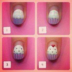 Step by step cupcake nails - Nail Art Designs Cute Nail Art, Nail Art Diy, Easy Nail Art, Diy Nails, Cute Nails, Pretty Nails, How To Nail Art, Nail Nail, Nail Polishes