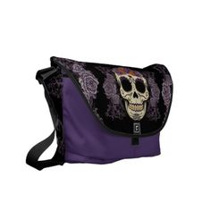 Vintage Skull and Roses Rickshaw Messenger Bag  Dave Jr has baby bag just like that :)