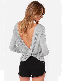Camiseta sin espalda manga larga-gris 13.69