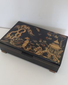 Vintage Chinoiserie Decorated Painted Flatware Silverware Cutlery Storage Box Chest