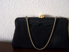 Vintage Black Evening Clutch with Gold tone by AutumnRainVintage, $14.00