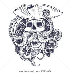 Vector Black and White Pirate Skull Tentacle Illustration
