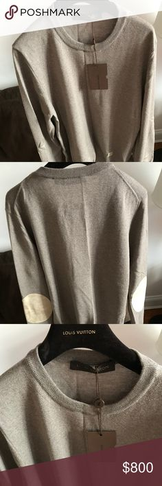 Louis Vuitton Men's sweather with leather patches Beautiful Men's crew neck sweather with leather elbow patches. 70% wool blended with 10% cashmere and leather elbow patches. Louis Vuitton Sweaters