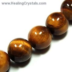 Crystal Necklaces - Golden Tiger Eye Round Bead Necklace- Golden Tiger Eye - Feel free to use code HCPIN10 for 10% off your order at www.healingcrystals.com