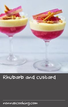 Rhubarb and custard |      This dessert is a celebration of a quintessentially British fruit. What excites the tastebuds as much as different flavours is contrasting textures, so in this dessert we have tart rhubarb jelly studded with tender fruit; sweet, smooth, velvety custard; and a garnish of crisp dried rhubarb.Equipment and preparation: for this recipe you will need a sugar thermometer, a hand-held blender, 4 glass serving dishes and a silicone mat.