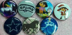 7 different one inch round flat back buttons by Buttonbonanza702, $15.00
