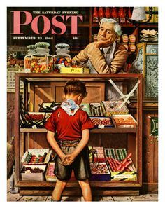 """""""Penny Candy,"""" Saturday Evening Post Cover, September 23, 1944 Giclee Print by Stevan Dohanos at AllPosters.com"""
