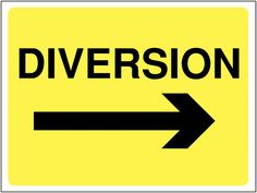 Buy your Construction Signs - Diversion Arrow Right online with Seton. Ideal multi-message temporary signs for building and construction sites Construction Signs, Workplace Safety, Health And Safety, Arrow, Letters, Messages, Ads, Building Signs, Arrows