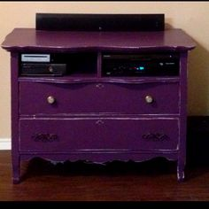 Turn an old dresser into a cute entertainment stand